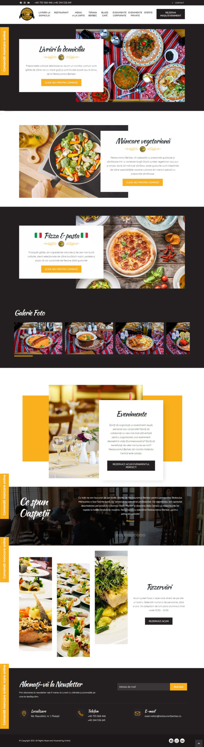 Website Restaurant Berbec